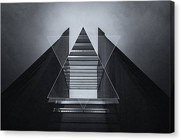 The Hotel Experimental Futuristic Architecture Photo Art In Modern Black And White Canvas Print by Philipp Rietz