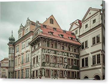 The House At The Minute With Graffiti At Old Town Square  Canvas Print