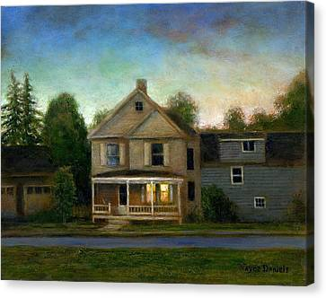 Canvas Print featuring the painting The House Next Door by Wayne Daniels