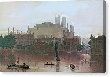 Westminster Abbey Canvas Print - The Houses Of Parliament by George Fennel Robson