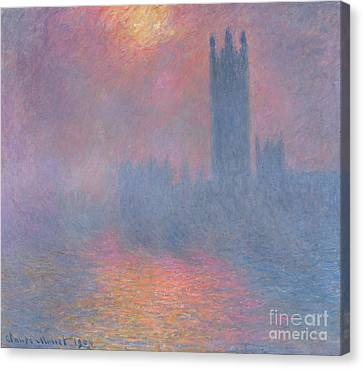 London Canvas Print - The Houses Of Parliament London by Claude Monet