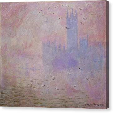 The Houses Of Parliament, Seagulls Canvas Print by Claude Monet