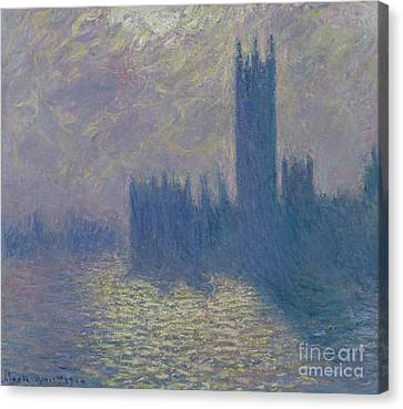 The Houses Of Parliament Stormy Sky Canvas Print by Claude Monet