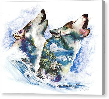 Canvas Print featuring the painting The Howl by Sherry Shipley