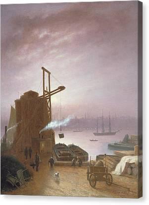 The Hudson River From Hoboken Canvas Print by Robert Walter Weir