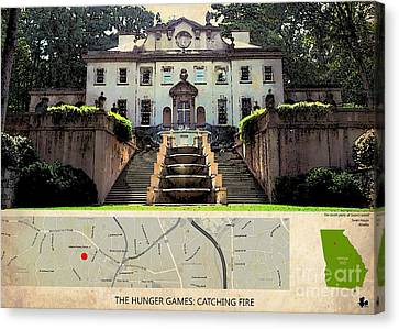 The Hunger Games Catching Fire Movie Location And Map Canvas Print by Pablo Franchi