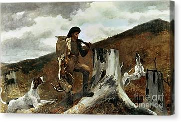 The Hunter And His Dogs Canvas Print by Winslow Homer