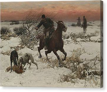 The Hunters Canvas Print by Alfred Kowalski