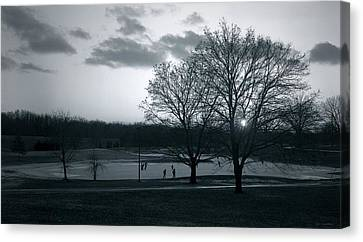 The Ice Skaters...kirby Park Pond Kingston Pa. Canvas Print by Arthur Miller