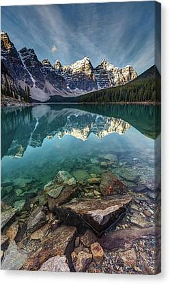 Mountain Reflection Lake Summit Mirror Canvas Print - The Iconic Moraine Lake by Pierre Leclerc Photography
