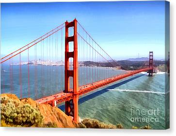 The Iconic San Francisco Golden Gate Bridge . 7d14507 Canvas Print by Wingsdomain Art and Photography