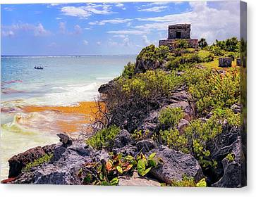 Canvas Print featuring the photograph The Iguana And The Temple Of The God Of The Wind - Tulum Mayan Ruins - Mexico by Jason Politte
