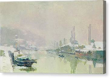 The Ile Lacroix Under Snow Canvas Print by Albert Charles Lebourg