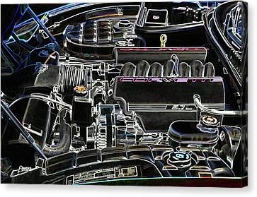 Component Canvas Print - The Image Of A Car Engine Compartment by Lanjee Chee