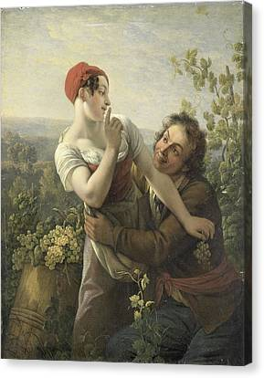 Grape Pickers Canvas Print - The Impassioned Grape Picker by R Muirhead Art