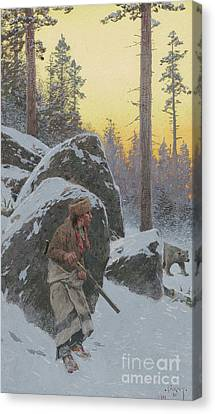 The Indian Bear Hunter, 1911 Canvas Print