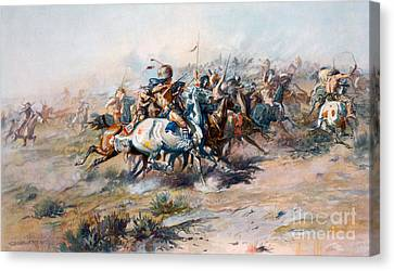 The Indian Encirclement Of General Custer At The Battle Of The Little Big Horn Canvas Print by Charles Marion Russell