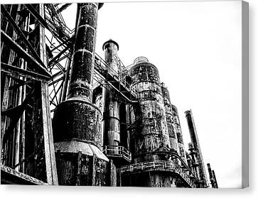 The Industrial Age At Bethlehem Steel In Black And White Canvas Print by Bill Cannon
