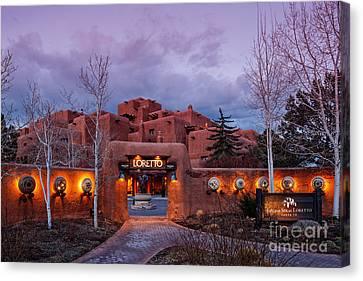 The Inn At Loretto At Twilight - Santa Fe New Mexico Canvas Print by Silvio Ligutti
