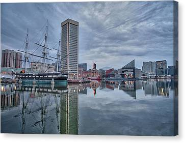 Canvas Print featuring the photograph The Inner Harbor On A Sunday Cloudy Morning by Mark Dodd