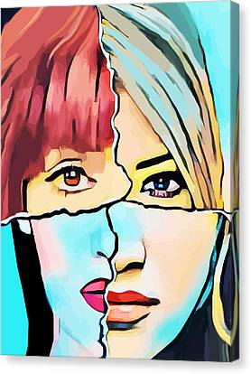The Inner Struggle Split Personality Abstract Canvas Print