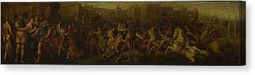 The Intervention Of The Sabine Women Canvas Print by Follower of Giulio Romano