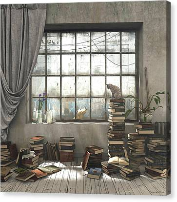 Books Canvas Print - The Introvert by Cynthia Decker