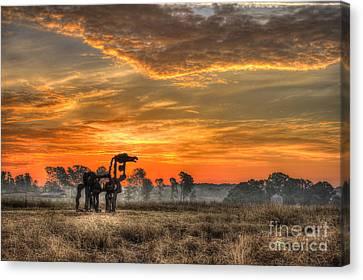 The Iron Horse 517 Sunrise Canvas Print by Reid Callaway