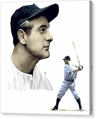 The Iron Horse  Lou Gehrig Canvas Print by Iconic Images Art Gallery David Pucciarelli
