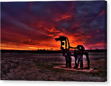 The Iron Horse Red Sky Sunset Canvas Print by Reid Callaway