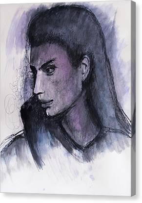 Canvas Print featuring the drawing The Islander by Jarko Aka Lui Grande