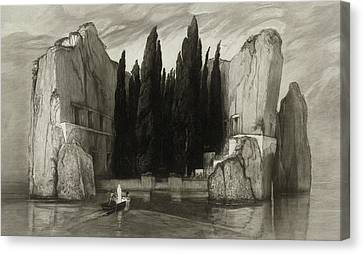 Sombre Canvas Print - The Isle Of The Dead by Max Klinger