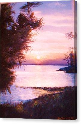 The James River At Twilight Canvas Print by Anne-Elizabeth Whiteway