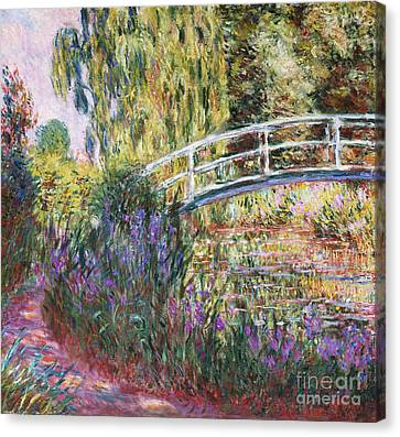 Lilies Canvas Print - The Japanese Bridge by Claude Monet