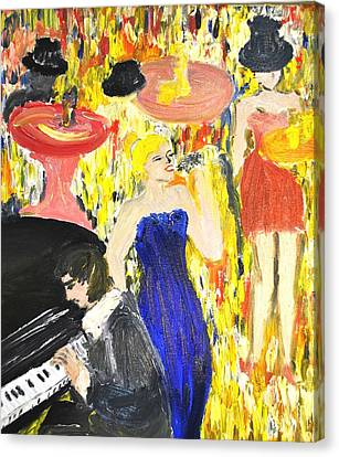 Canvas Print featuring the painting The Jazz Singer by Evelina Popilian