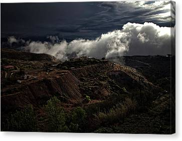 Canvas Print featuring the photograph The Jerome State Park With Low Lying Clouds After Storm by Ron Chilston
