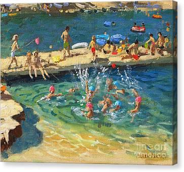 Tanning Canvas Print - The Jetty, Rovinj, Croatia by Andrew Macara