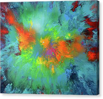 Blau Canvas Print - The Journey - Abstract Modern Fluid Art by Tiberiu Soos