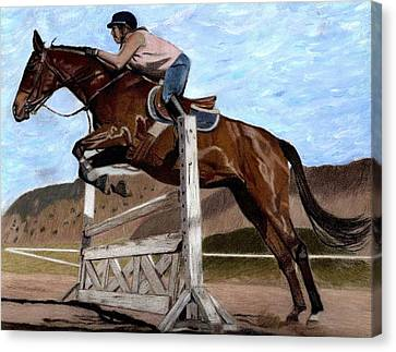 The Jumper - Horse And Rider Painting Canvas Print