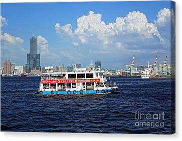 Canvas Print featuring the photograph The Kaohsiung Harbor Ferry Crosses The Bay by Yali Shi