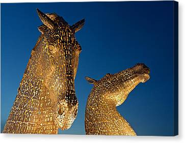 The Kelpies At Dusk Canvas Print by Stephen Taylor