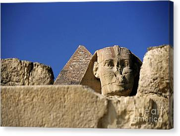 The Khephren Pyramid And The Great Sphinx Of Giza Canvas Print by Sami Sarkis