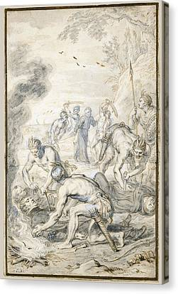 The Killing Of Jesuits  By Indians In Peru Canvas Print by Abraham Jansz van Diepenbeeck