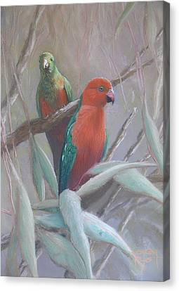 The King And Queen - King Parrots Canvas Print by Leigh Rust