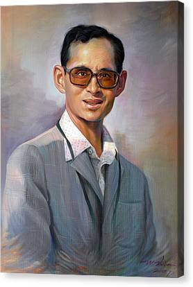 Canvas Print featuring the painting The King Bhumibol by Chonkhet Phanwichien