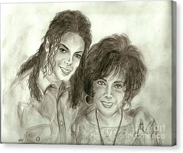 The King Of Pop And Elizabeth Taylor Canvas Print by Nicole Wang