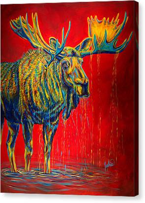 Bull Moose Canvas Print - The King by Teshia Art