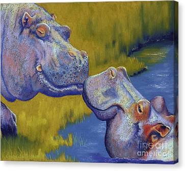 The Kiss - Hippos Canvas Print by Tracy L Teeter