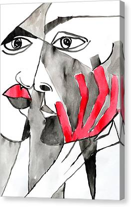 The Kiss In Red Canvas Print by Jorge Berlato