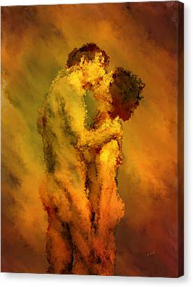 The Kiss Canvas Print by Kurt Van Wagner